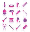 cosmetic, make up and hairdressing icons - vector icon set