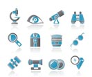 Optic and lens equipment icons - vector icon set