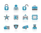 social security and police icons - vector icon set