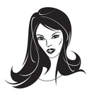 Modern girl with a new hairstyle - vector illustration