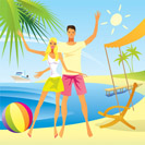Romantic couple enjoy their vacation on the beach - vector illustration