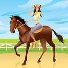 Girl is riding a horse in Western style - vector illustration