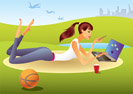 Fashion girl with laptop in the park - vector illustration