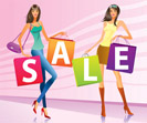 "Shopping girls with ""sale"" campaign bags - vector illustration"