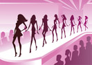 Fashion models show new clothes at a review - vector illustration