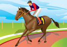 Jockey ride a brown horse - vector illustration