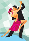 Pair of dancers in ballroom dance - vector illustration