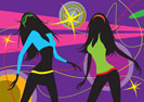 Dancing girls in a club - vector illustration