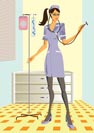 Nurse in medical consulting room - vector illustration