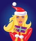 christmas girl with gift - vector illustration