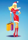 christmas girl with shopping bags - vector illustration