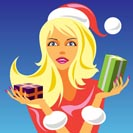 christmas girl with gift 2 - vector illustration
