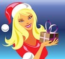christmas girl with gift 3 - vector illustration