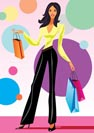 fashion shopping girls with shopping bag  - vector illustration