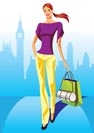 fashion shopping girls with shopping bag in London - vector illustration