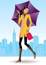 fashion shopping girls with shopping bag in San Francisco - vector illustration