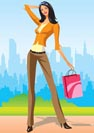 fashion shopping girls with shopping bag in New York - vector illustratio