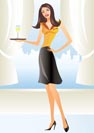 beautiful waitress in apron holding coctail in new york - vector illustration