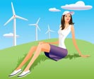 woman and wind turbine in background - vector illustration