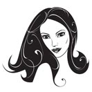 Abstract woman black and white portrait - vector illustration