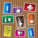 Medical and healtcare Icons - postage stamp - vector icon set
