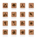 Wooden Ecology icons - Vector Icon Set