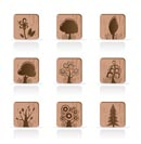 Wooden Tree Collection icons - Vector Icon Set